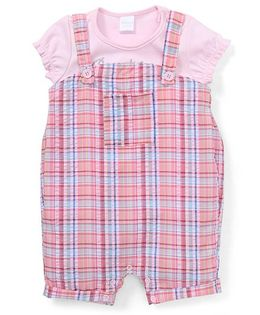 Starters By Wonderchild Checkered Dungaree With Tee - Pink