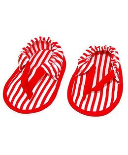 SnugOns Stripe Flip Flops Style Booties - White Red