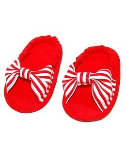 SnugOns Baby Booties With A Bow Applique - White & Red