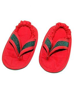 SnugOns Baby Booties With Glitter Strap - Red