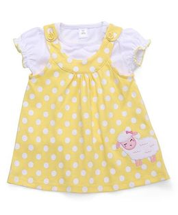 ToffyHouse Short Sleeves Polka Dotted Frock With Inner Top - Yellow