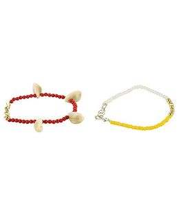 Funkrafts Anklet Combo Set Of 2 - Maroon & Yellow
