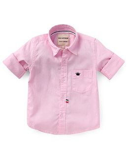 The KidShop Solid Shirt With Crown Embroidery - Pink