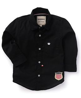 The KidShop Solid Shirt With Crown Embroidery - Black
