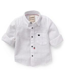 The KidShop Solid Shirt With Crown Embroidery - White