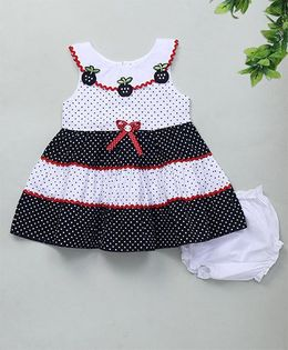 M'Princess Polka Dot Cotton Dress With Bloomer - Navy