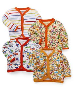 Kidi Wav Multi Prints Full Sleeves Jhabla Pack Of 4 - Multicolour