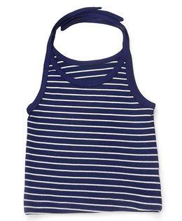 Kidi Wav Stripe Print Tie Up Jhabla - Navy Blue
