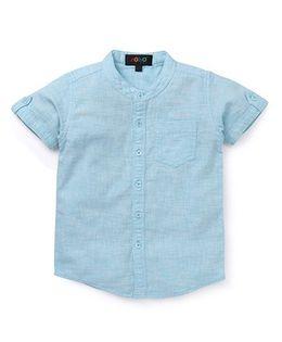 Robo Fry Half Sleeves Mandarin Collar Solid Color Shirt - Blue