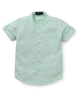Robo Fry Half Sleeves Mandarin Collar Solid Color Shirt - Green