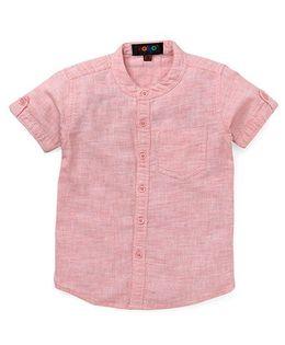 Robo Fry Half Sleeves Mandarin Collar Solid Color Shirt - Pink
