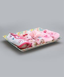 Needybee 9 Pc Baby Girl Essential Gift Set For Newborn - Pink