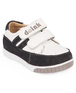 Doink Casual Shoes With Double Velcro Closure - White & Black