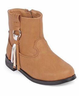 Doink Partywear Boot Shoes With Tassel - Camel Brown