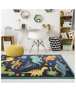 Little Looms Dino Printed Rug - Blue