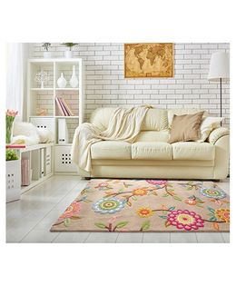 Little Looms Blossoms Printed Rug - Beige