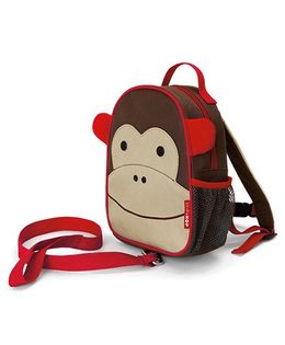 Skip Hop Mini Backpack With Rein Monkey Design Brown - 7.5 inches