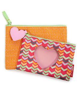 Skip Hop Forget Me Not Heart Design Pouches Set Of 2 - Multi Color