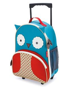 Skip Hop Travel Rolling Luggage Backpack Owl Design Blue Red - 17 inches
