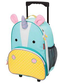 Skip Hop Travel Rolling Luggage Backpack Eureka Unicorn Design Sea Green Yellow - 17 inches