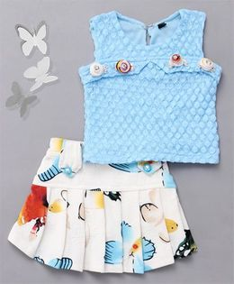 Little Sparrow Box Pleated Skirt & Top Set - Sky Blue