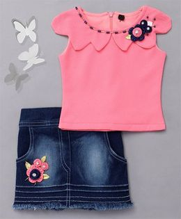 Little Sparrow Flower Embellished Top & Denim Skirt - Pink