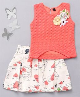 Little Sparrow Heart Printed Skirt & Top Set  - Peach