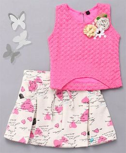 Little Sparrow Heart Printed Skirt & Top Set  - Pink