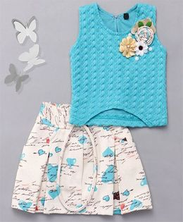 Little Sparrow Heart Printed Skirt & Top Set  - Turquoise