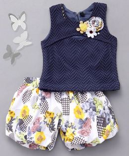 Little Sparrow Top With Floral Shorts Set - Blue