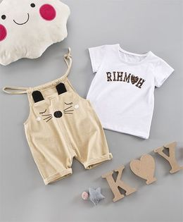 Pre Order - Awabox Text Print Tee & Cute Dungarees - Yellow