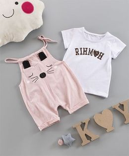 Pre Order - Awabox Text Print Tee & Cute Dungarees - Pink