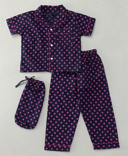 White Rabbit Polka Dots Night Suit - Blue