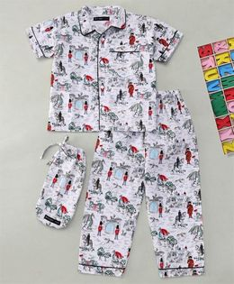 White Rabbit Dragons & Castles Print Night Suit - White & Grey