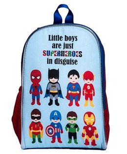 Li'Ll Pumpkins Superhero Printed School Bag - Red & Blue