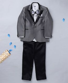 Prinz Suit With Contrast Shirt Pant & Bow - Grey