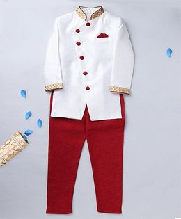 Prinz Solid Uneven Placket Overlap Sherwani With Churidar & Pocket Square - Cream