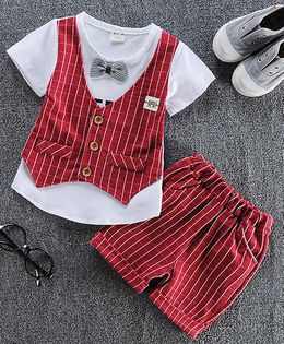 Pre Order - Lil Mantra Checkered Tee & Shorts Set - Red