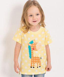 Pre Order - Lil Mantra Polka Dotted Giraffe Print Tshirt - Yellow