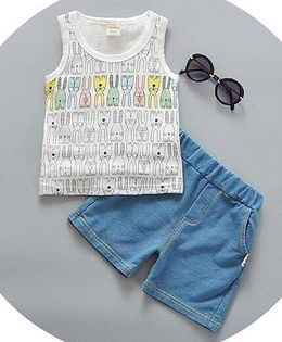 Pre Order - Lil Mantra Cartoon Print Tank Top And Bottom Set - White And Blue