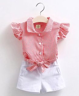 Pre Order - Mauve Collection Classy Stripe Top & Shorts Summer Set - Red & White