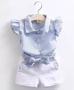 Pre Order - Mauve Collection Classy Stripe Top & Shorts Summer Set - Blue & White