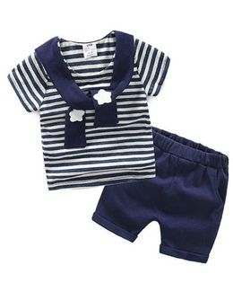 Pre Order - Mauve Collection Stripe T Shirt With The Scarf & Shorts - Blue & White