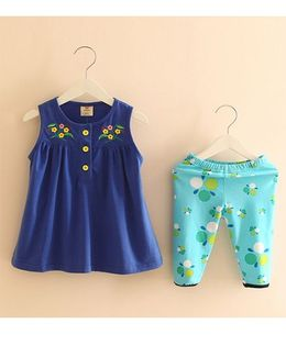 Pre Order - Mauve Collection Embroidery Top & Print Pants Classy Top & Shorts Set - Blue & Green