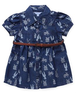 ToffyHouse Short Sleeves Printed Denim Collar Frock - Blue