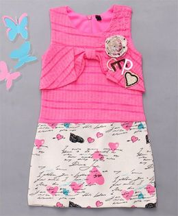 Little Sparrow Heart Printed Dress - Pink