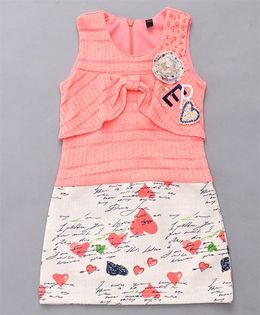 Little Sparrow Heart Printed Dress - Peach