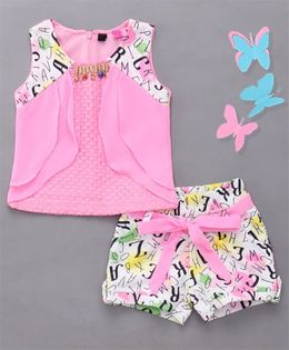 Little Sparrow Printed Shorts & Top Set - Pink