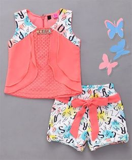 Little Sparrow Printed Shorts & Top Set - Peach