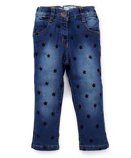 Little Kangaroos Jeans Floral Design - Dark Blue
